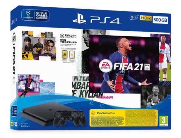"""תמונה של Playstation 4 Slim 500GB + FIFA 21- פלייסטיישן 4 סלים 500 ג""""ב + פיפ""""א ו2 שלטים."""